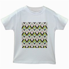 Chevron Pink Green Copy Kids White T-Shirts