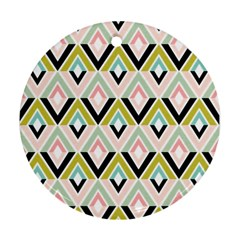 Chevron Pink Green Copy Round Ornament (Two Sides)
