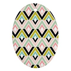 Chevron Pink Green Copy Oval Ornament (Two Sides)