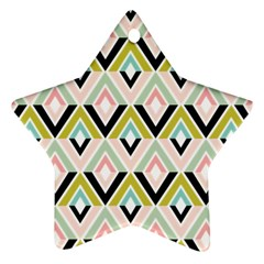Chevron Pink Green Copy Star Ornament (Two Sides)