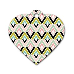 Chevron Pink Green Copy Dog Tag Heart (Two Sides)