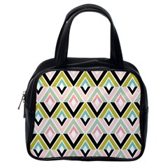 Chevron Pink Green Copy Classic Handbags (One Side)
