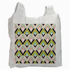 Chevron Pink Green Copy Recycle Bag (One Side)