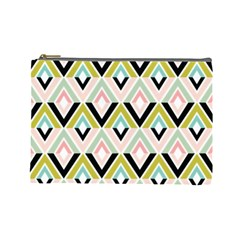 Chevron Pink Green Copy Cosmetic Bag (Large)