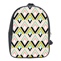 Chevron Pink Green Copy School Bags(Large)