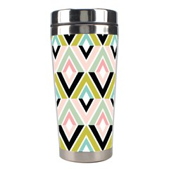 Chevron Pink Green Copy Stainless Steel Travel Tumblers