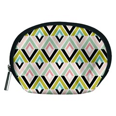 Chevron Pink Green Copy Accessory Pouches (Medium)