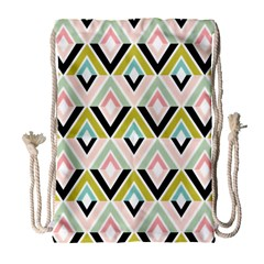 Chevron Pink Green Copy Drawstring Bag (Large)