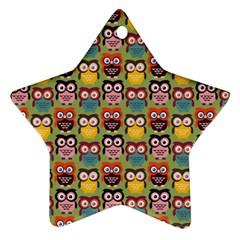 Eye Owl Colorful Cute Animals Bird Copy Ornament (Star)
