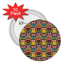 Eye Owl Colorful Cute Animals Bird Copy 2.25  Buttons (10 pack)