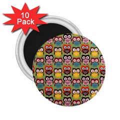 Eye Owl Colorful Cute Animals Bird Copy 2.25  Magnets (10 pack)