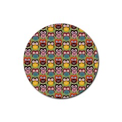 Eye Owl Colorful Cute Animals Bird Copy Rubber Round Coaster (4 pack)