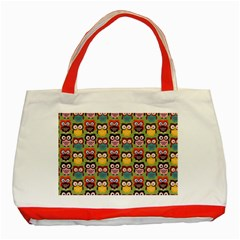 Eye Owl Colorful Cute Animals Bird Copy Classic Tote Bag (Red)