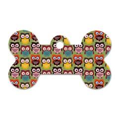 Eye Owl Colorful Cute Animals Bird Copy Dog Tag Bone (One Side)