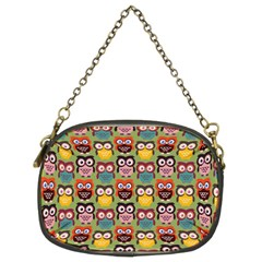 Eye Owl Colorful Cute Animals Bird Copy Chain Purses (Two Sides)