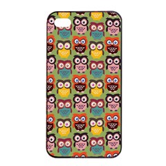 Eye Owl Colorful Cute Animals Bird Copy Apple iPhone 4/4s Seamless Case (Black)