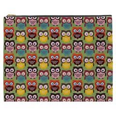 Eye Owl Colorful Cute Animals Bird Copy Cosmetic Bag (XXXL)