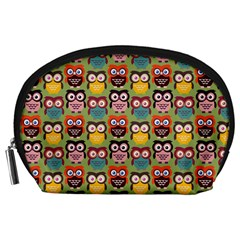 Eye Owl Colorful Cute Animals Bird Copy Accessory Pouches (Large)