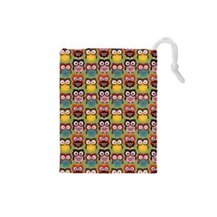 Eye Owl Colorful Cute Animals Bird Copy Drawstring Pouches (Small)