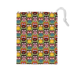 Eye Owl Colorful Cute Animals Bird Copy Drawstring Pouches (Large)