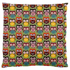 Eye Owl Colorful Cute Animals Bird Copy Large Flano Cushion Case (Two Sides)