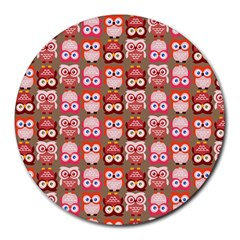 Eye Owl Colorfull Pink Orange Brown Copy Round Mousepads