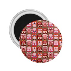 Eye Owl Colorfull Pink Orange Brown Copy 2.25  Magnets