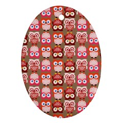 Eye Owl Colorfull Pink Orange Brown Copy Ornament (Oval)