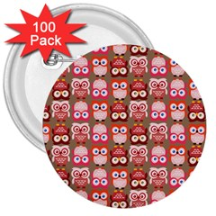 Eye Owl Colorfull Pink Orange Brown Copy 3  Buttons (100 pack)
