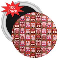 Eye Owl Colorfull Pink Orange Brown Copy 3  Magnets (100 pack)