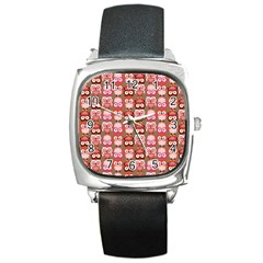 Eye Owl Colorfull Pink Orange Brown Copy Square Metal Watch