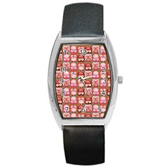 Eye Owl Colorfull Pink Orange Brown Copy Barrel Style Metal Watch