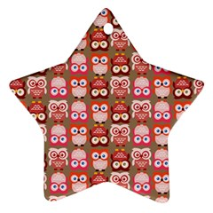 Eye Owl Colorfull Pink Orange Brown Copy Star Ornament (Two Sides)