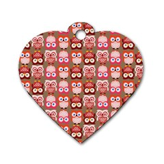 Eye Owl Colorfull Pink Orange Brown Copy Dog Tag Heart (Two Sides)