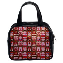 Eye Owl Colorfull Pink Orange Brown Copy Classic Handbags (2 Sides)