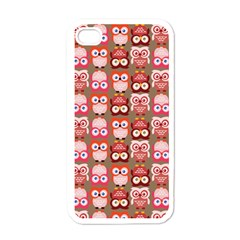 Eye Owl Colorfull Pink Orange Brown Copy Apple iPhone 4 Case (White)