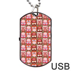 Eye Owl Colorfull Pink Orange Brown Copy Dog Tag USB Flash (Two Sides)