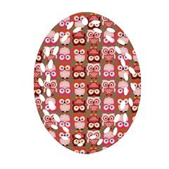 Eye Owl Colorfull Pink Orange Brown Copy Oval Filigree Ornament (2-Side)
