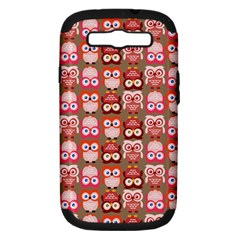 Eye Owl Colorfull Pink Orange Brown Copy Samsung Galaxy S III Hardshell Case (PC+Silicone)