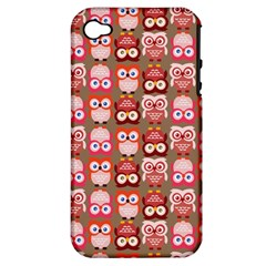 Eye Owl Colorfull Pink Orange Brown Copy Apple iPhone 4/4S Hardshell Case (PC+Silicone)