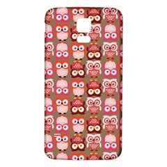 Eye Owl Colorfull Pink Orange Brown Copy Samsung Galaxy S5 Back Case (White)