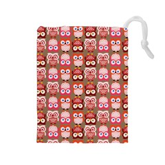 Eye Owl Colorfull Pink Orange Brown Copy Drawstring Pouches (Large)