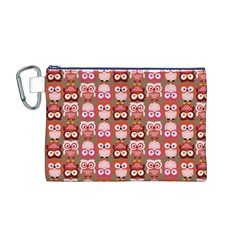 Eye Owl Colorfull Pink Orange Brown Copy Canvas Cosmetic Bag (M)
