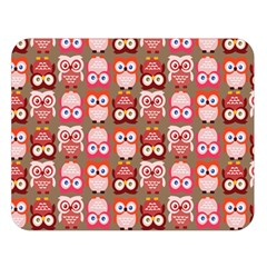 Eye Owl Colorfull Pink Orange Brown Copy Double Sided Flano Blanket (Large)