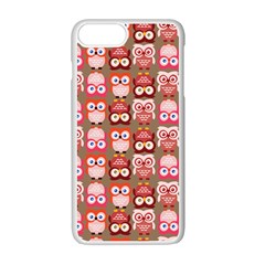 Eye Owl Colorfull Pink Orange Brown Copy Apple iPhone 7 Plus White Seamless Case