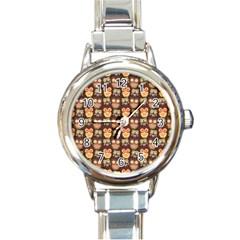 Eye Owl Line Brown Copy Round Italian Charm Watch