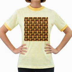 Eye Owl Line Brown Copy Women s Fitted Ringer T-Shirts