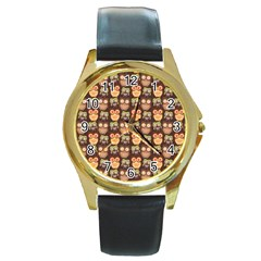 Eye Owl Line Brown Copy Round Gold Metal Watch