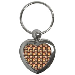 Eye Owl Line Brown Copy Key Chains (Heart)