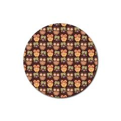 Eye Owl Line Brown Copy Rubber Round Coaster (4 pack)